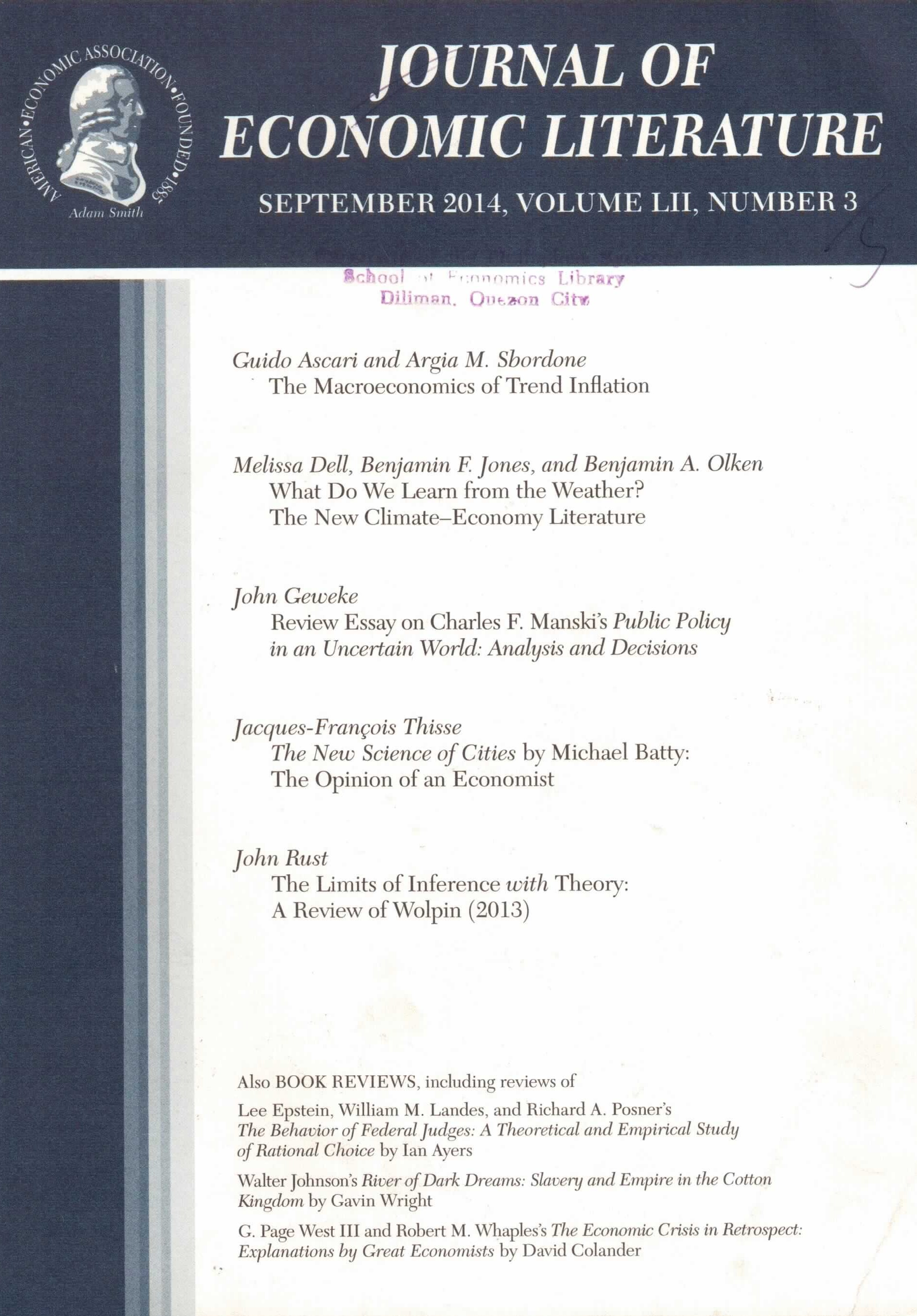 new acquisitions periodicals upse library journal of economic literature